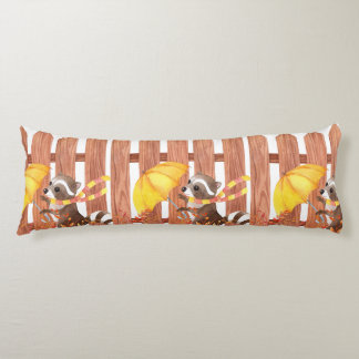 racoon with umbrella walking by fence body pillow