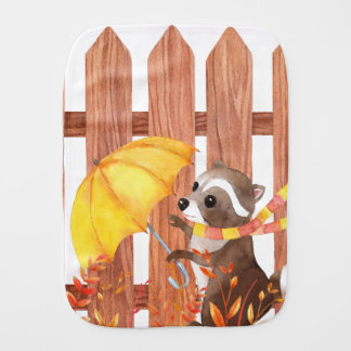 racoon with umbrella walking by fence burp cloth