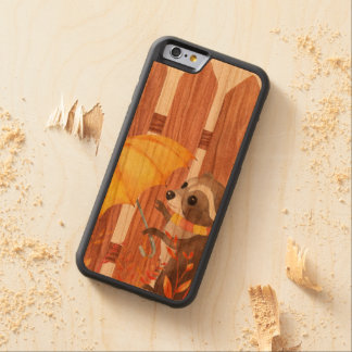 racoon with umbrella walking by fence carved cherry iPhone 6 bumper case