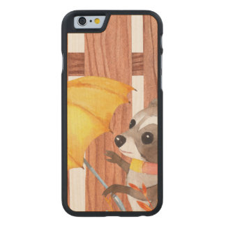 racoon with umbrella walking by fence carved maple iPhone 6 case