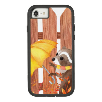 racoon with umbrella walking by fence Case-Mate tough extreme iPhone 8/7 case