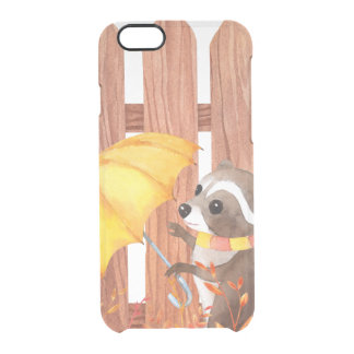 racoon with umbrella walking by fence clear iPhone 6/6S case