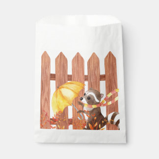racoon with umbrella walking by fence favour bag