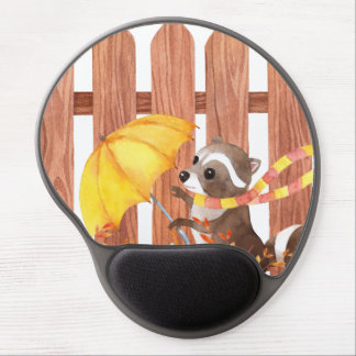 racoon with umbrella walking by fence gel mouse pad