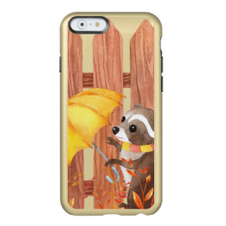 racoon with umbrella walking by fence incipio feather® shine iPhone 6 case