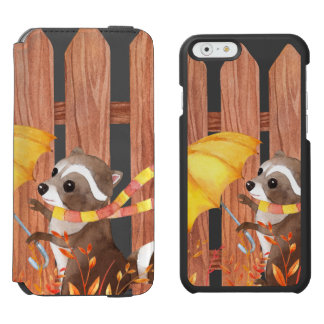 racoon with umbrella walking by fence incipio watson™ iPhone 6 wallet case