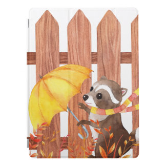 racoon with umbrella walking by fence iPad pro cover