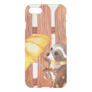 racoon with umbrella walking by fence iPhone 8/7 case