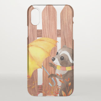racoon with umbrella walking by fence iPhone x case