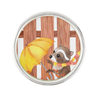 racoon with umbrella walking by fence lapel pin