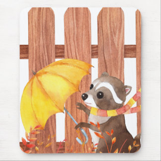 racoon with umbrella walking by fence mouse pad