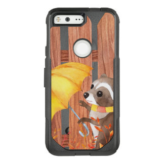racoon with umbrella walking by fence OtterBox commuter google pixel case