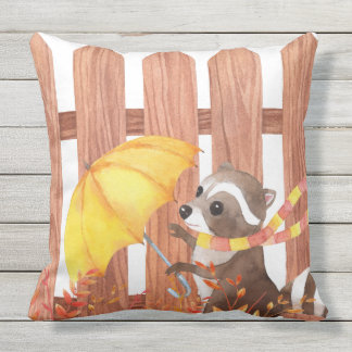 racoon with umbrella walking by fence outdoor pillow