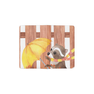 racoon with umbrella walking by fence pocket moleskine notebook