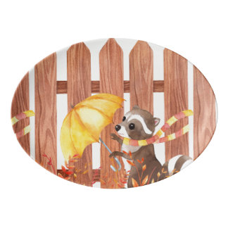 racoon with umbrella walking by fence porcelain serving platter