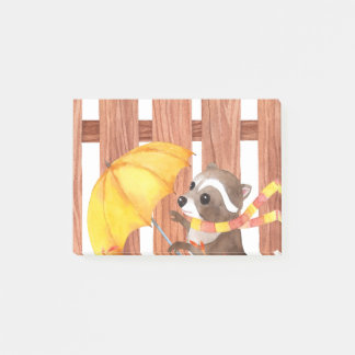 racoon with umbrella walking by fence post-it notes