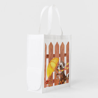 racoon with umbrella walking by fence reusable grocery bag