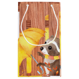 racoon with umbrella walking by fence small gift bag