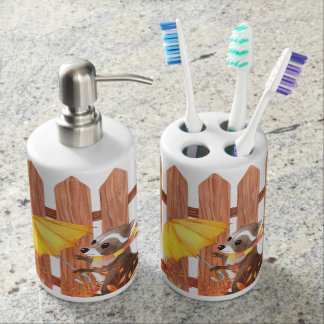 racoon with umbrella walking by fence soap dispenser and toothbrush holder