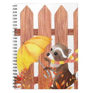 racoon with umbrella walking by fence spiral notebook
