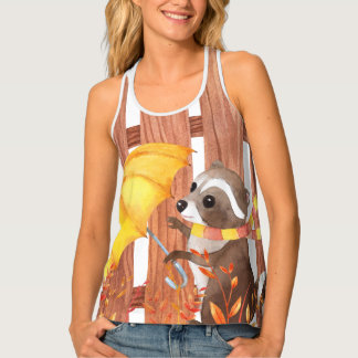 racoon with umbrella walking by fence tank top