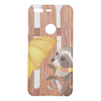 racoon with umbrella walking by fence uncommon google pixel case