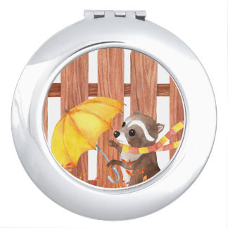 racoon with umbrella walking by fence vanity mirror