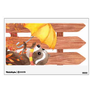 racoon with umbrella walking by fence wall sticker