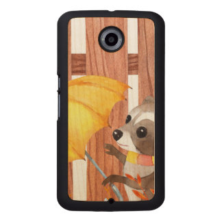 racoon with umbrella walking by fence wood phone case