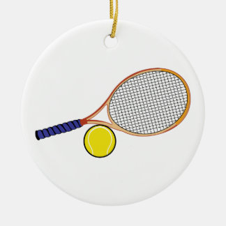 Racquet and Ball Ceramic Ornament