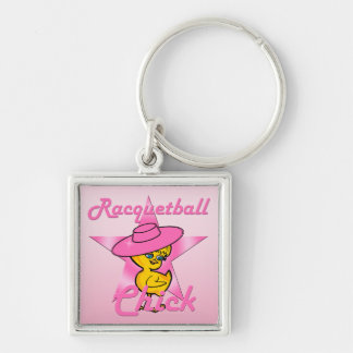 Racquetball Chick #8 Silver-Colored Square Keychain
