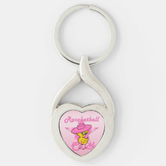Racquetball Chick #8 Silver-Colored Twisted Heart Keychain