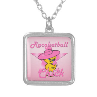 Racquetball Chick #8 Silver Plated Necklace