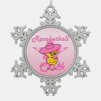 Racquetball Chick #8 Snowflake Pewter Christmas Ornament