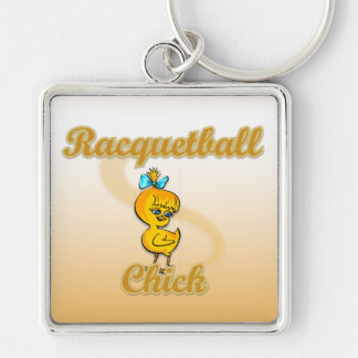 Racquetball Chick Silver-Colored Square Keychain