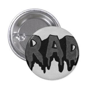 'Rad' Black and White Grunge Badge 1 Inch Round Button