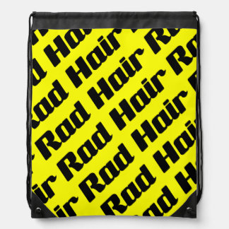 Rad Hair Typography Black And Yellow Text Pattern Cinch Bag