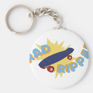 Rad Ripper Skateboard Basic Round Button Keychain