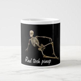 """""""Rad tech pinup with reclining skeleton Large Coffee Mug"""