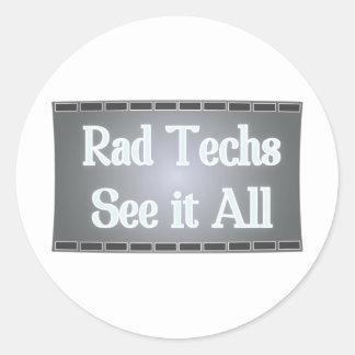 Rad Techs See It All (X-Ray Film) Round Sticker