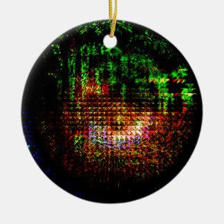 radar kaleidoscope pattern round ceramic ornament