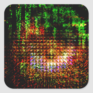 radar kaleidoscope pattern square sticker