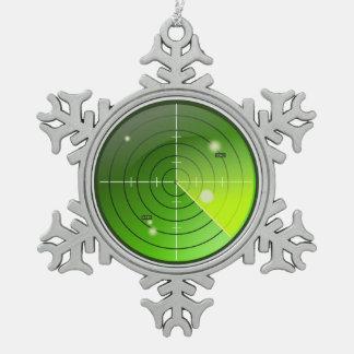 Radar Snowflake Pewter Christmas Ornament