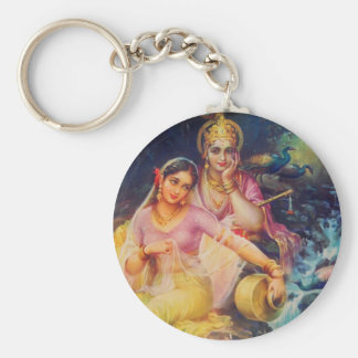 Radha and Krishna button Basic Round Button Keychain