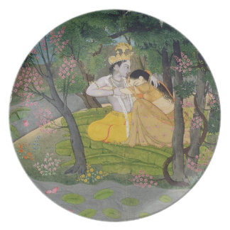 Radha and Krishna embrace in a grove of flowering Dinner Plates
