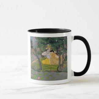 Radha and Krishna embrace in a grove of flowering Mug