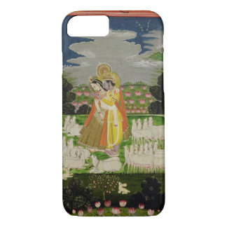 Radha and Krishna embrace in an idealised landscap iPhone 8/7 Case