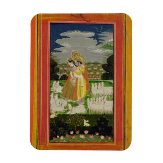 Radha and Krishna embrace in an idealised landscap Magnet