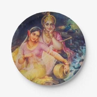 Radha and Krishna paper plate