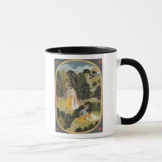 Radha and Krishna walking in a grove Mug